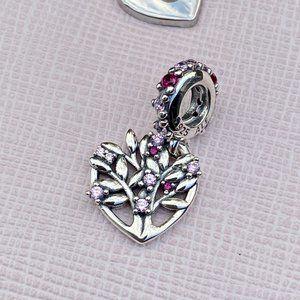 PANDORA Pink Heart Family Tree Dangle Charm